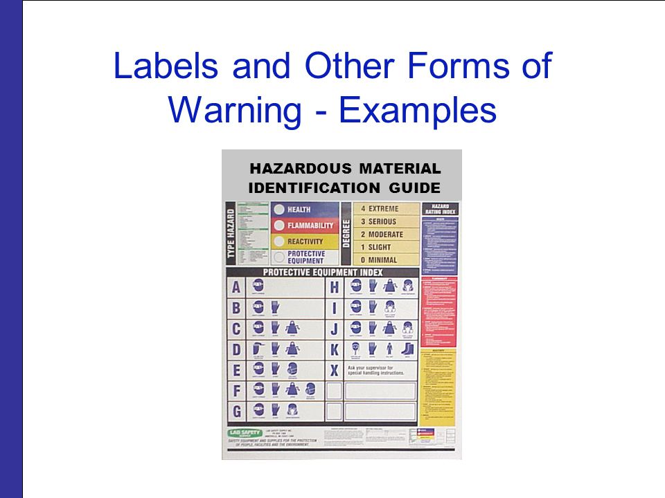 Labels and Other Forms of Warning - Examples HAZARDOUS MATERIAL IDENTIFICATION GUIDE