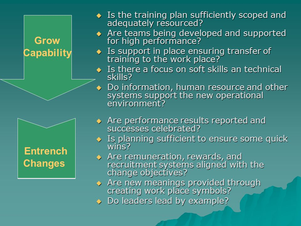 Grow Capability  Is the training plan sufficiently scoped and adequately resourced?  Are teams being developed and supported for high performance? 