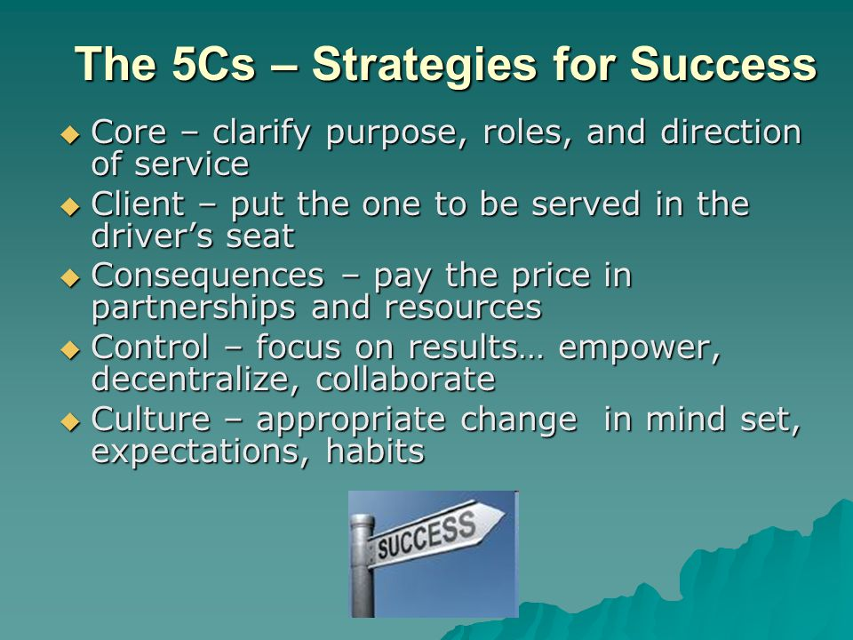 The 5Cs – Strategies for Success  Core – clarify purpose, roles, and direction of service  Client – put the one to be served in the driver's seat 