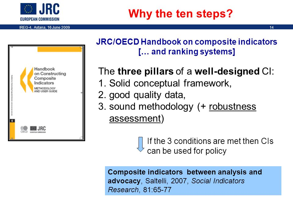 IREG-4, Astana, 16 June 200914 JRC/OECD Handbook on composite indicators [… and ranking systems] Why the ten steps.