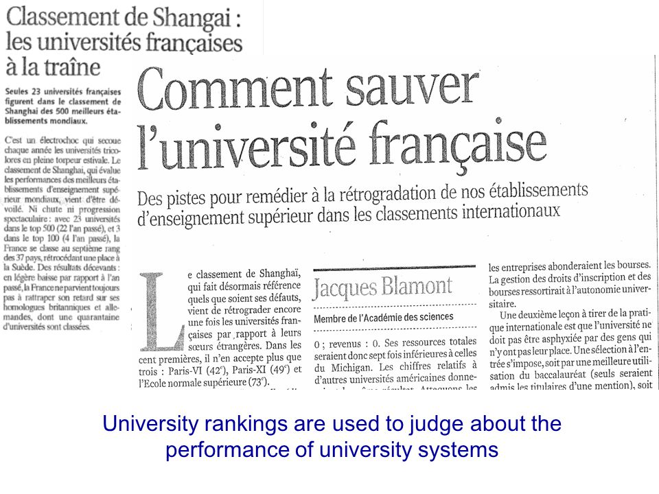 IREG-4, Astana, 16 June 20094 University rankings are used to judge about the performance of university systems