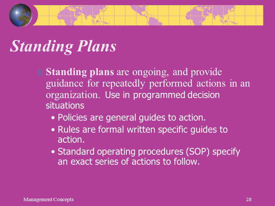 Standing Plans Standing plans are ongoing, and provide guidance for repeatedly performed actions in an organization. Use in programmed decision situat
