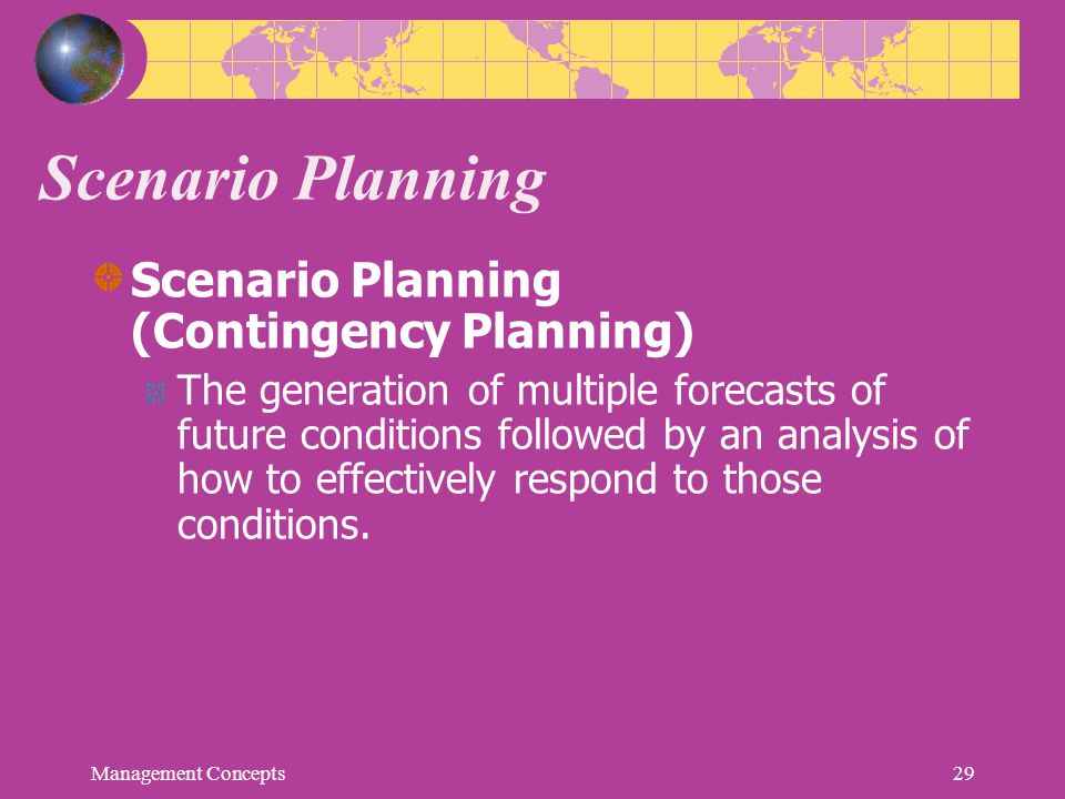 Scenario Planning Scenario Planning (Contingency Planning) The generation of multiple forecasts of future conditions followed by an analysis of how to