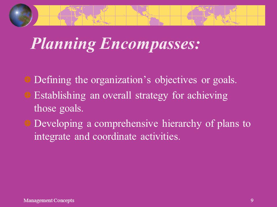 Essentials of a sound plan Should be based on clearly defined objectives Simple and understandable Flexible or adaptable to changing conditions Balanced in all respects and should be reasonably comprehensive Management Concepts10
