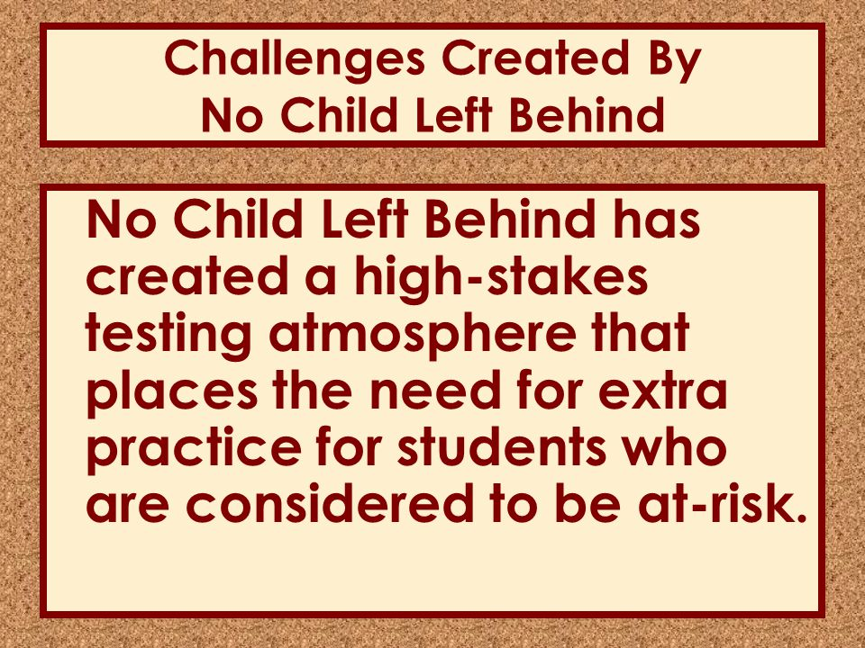 Literature Review Challenges created by No Child Left Behind.