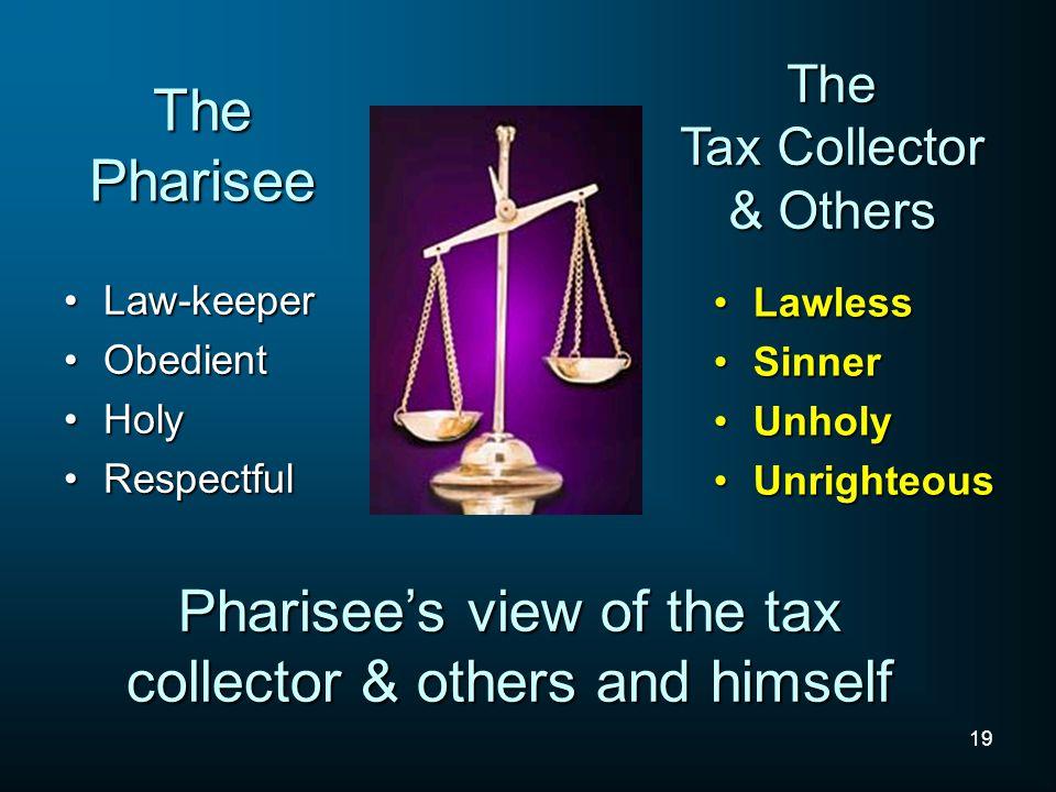19 The Pharisee Law-keeperLaw-keeper ObedientObedient HolyHoly RespectfulRespectful LawlessLawless SinnerSinner UnholyUnholy UnrighteousUnrighteous Th