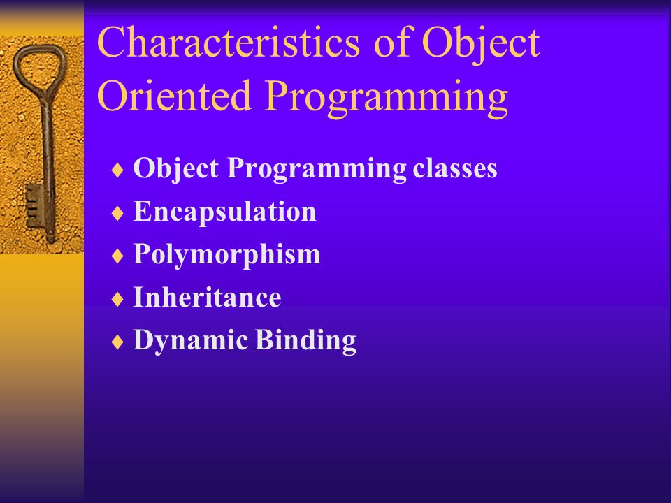 Characteristics of Object Oriented Programming  Object Programming classes  Encapsulation  Polymorphism  Inheritance  Dynamic Binding