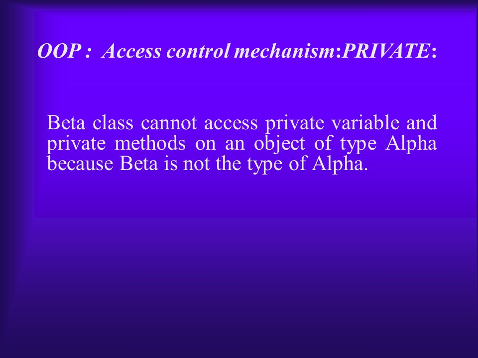Beta class cannot access private variable and private methods on an object of type Alpha because Beta is not the type of Alpha.
