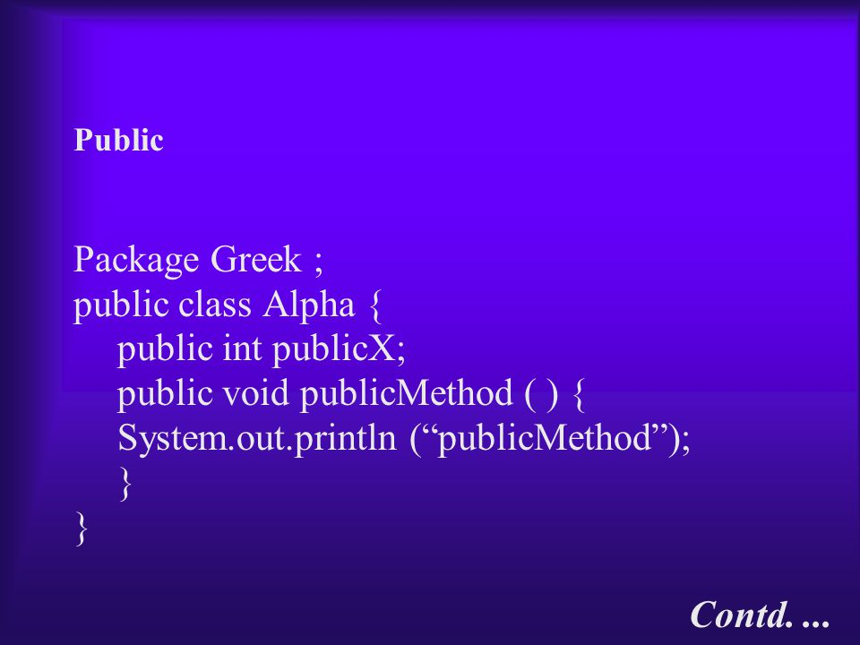 Public Package Greek ; public class Alpha { public int publicX; public void publicMethod ( ) { System.out.println ( publicMethod ); } Contd....