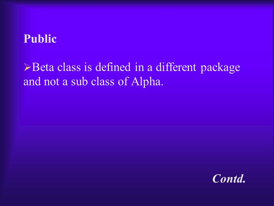 Public  Beta class is defined in a different package and not a sub class of Alpha. Contd.