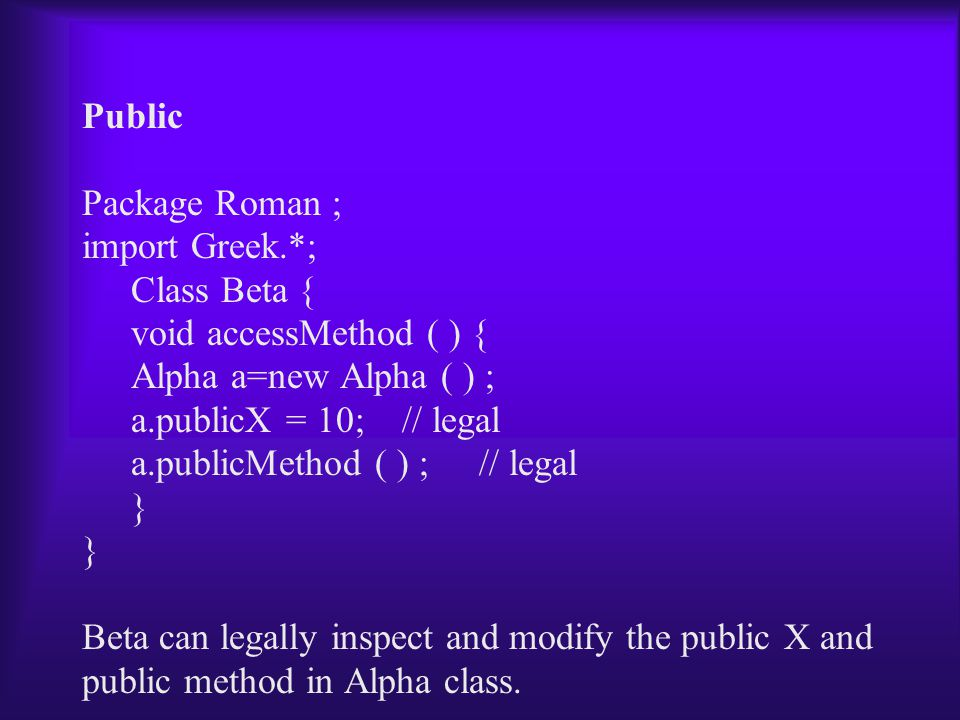 Public Package Roman ; import Greek.*; Class Beta { void accessMethod ( ) { Alpha a=new Alpha ( ) ; a.publicX = 10; // legal a.publicMethod ( ) ; // legal } Beta can legally inspect and modify the public X and public method in Alpha class.