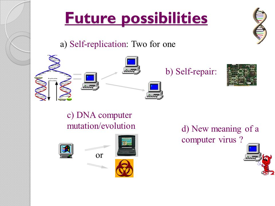 Future possibilities a) Self-replication: Two for one b) Self-repair: c) DNA computer mutation/evolution or d) New meaning of a computer virus ?