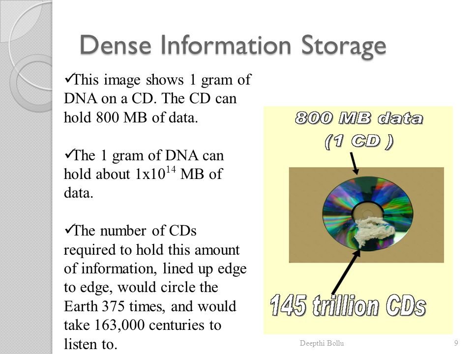 Deepthi Bollu9 Dense Information Storage This image shows 1 gram of DNA on a CD. The CD can hold 800 MB of data. The 1 gram of DNA can hold about 1x10