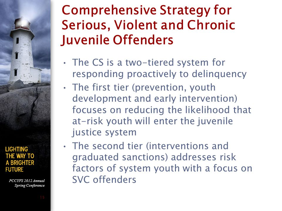 PCCYFS 2012 Annual Spring Conference 15 Comprehensive Strategy for Serious, Violent and Chronic Juvenile Offenders The CS is a two-tiered system for responding proactively to delinquency The first tier (prevention, youth development and early intervention) focuses on reducing the likelihood that at-risk youth will enter the juvenile justice system The second tier (interventions and graduated sanctions) addresses risk factors of system youth with a focus on SVC offenders
