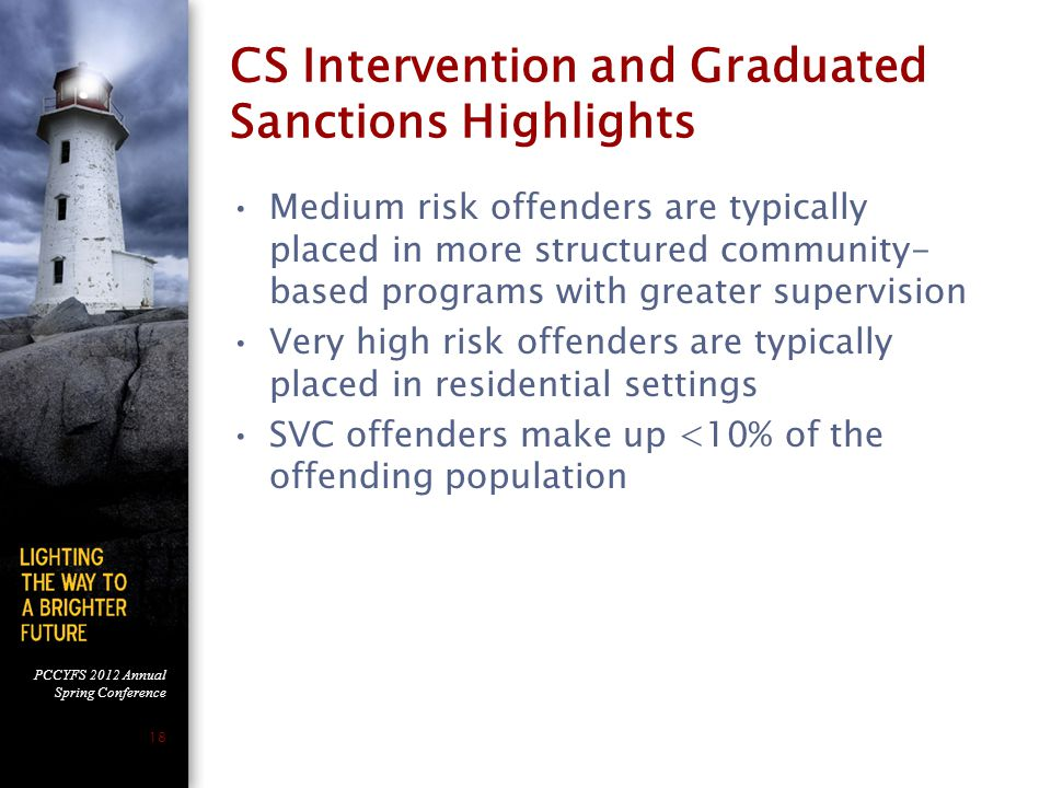 PCCYFS 2012 Annual Spring Conference 18 CS Intervention and Graduated Sanctions Highlights Medium risk offenders are typically placed in more structur