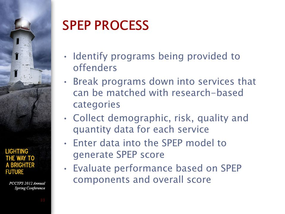 PCCYFS 2012 Annual Spring Conference 33 SPEP PROCESS Identify programs being provided to offenders Break programs down into services that can be matched with research-based categories Collect demographic, risk, quality and quantity data for each service Enter data into the SPEP model to generate SPEP score Evaluate performance based on SPEP components and overall score