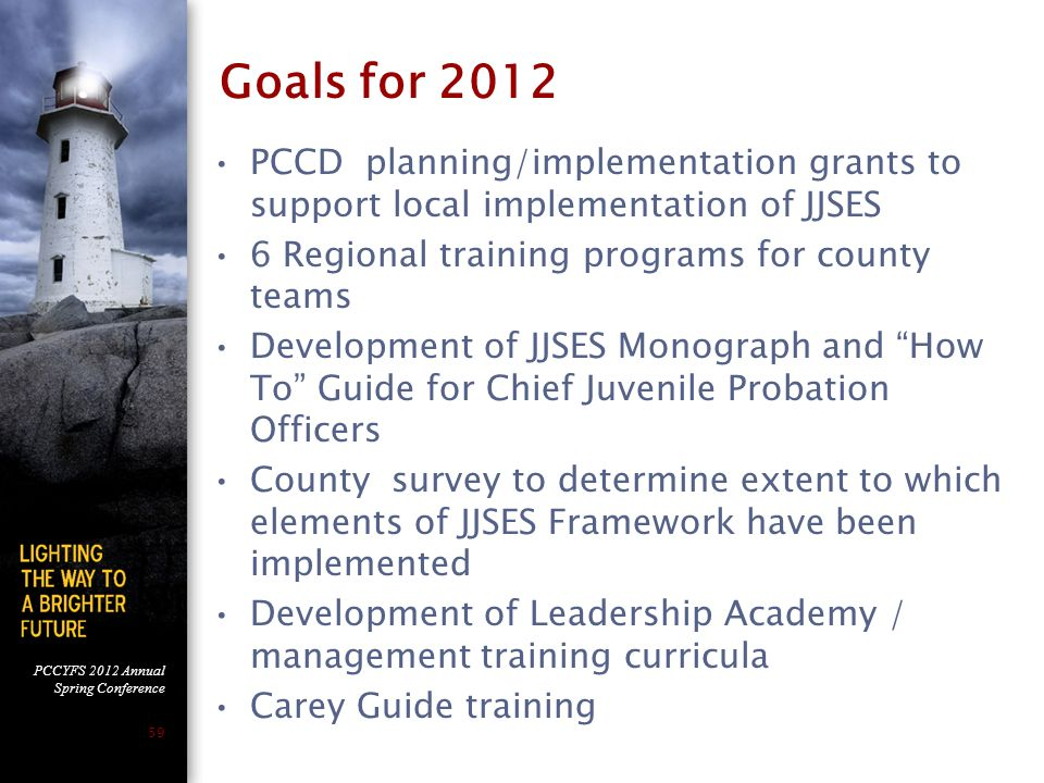 PCCYFS 2012 Annual Spring Conference 59 Goals for 2012 PCCD planning/implementation grants to support local implementation of JJSES 6 Regional trainin