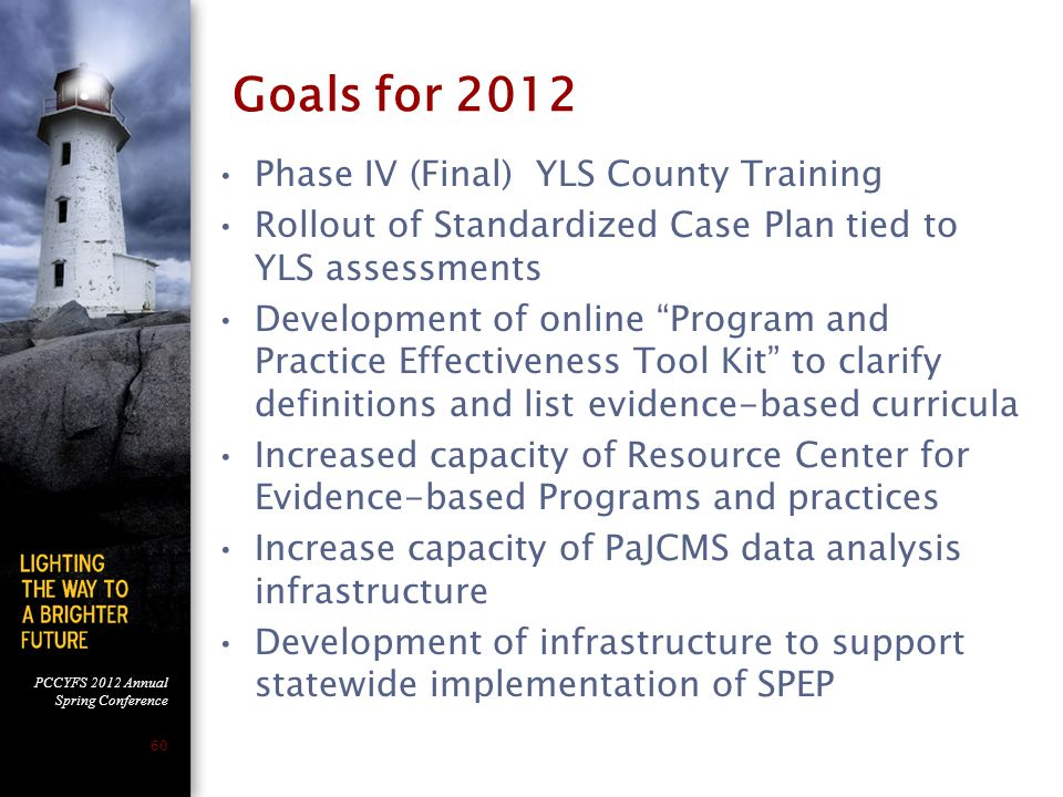 PCCYFS 2012 Annual Spring Conference 60 Goals for 2012 Phase IV (Final) YLS County Training Rollout of Standardized Case Plan tied to YLS assessments