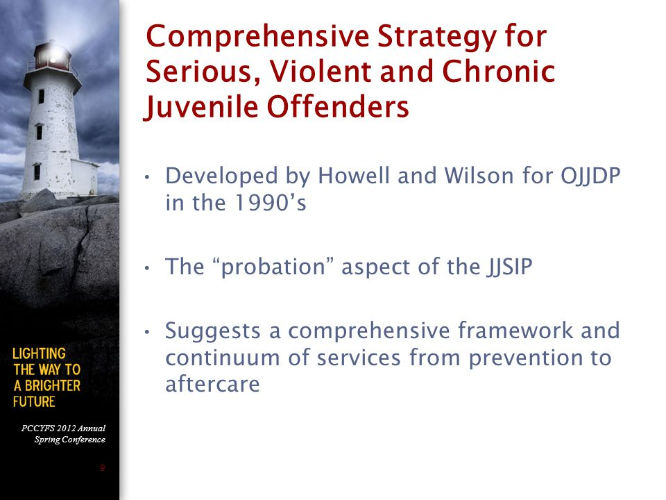 PCCYFS 2012 Annual Spring Conference 9 Comprehensive Strategy for Serious, Violent and Chronic Juvenile Offenders Developed by Howell and Wilson for OJJDP in the 1990's The probation aspect of the JJSIP Suggests a comprehensive framework and continuum of services from prevention to aftercare