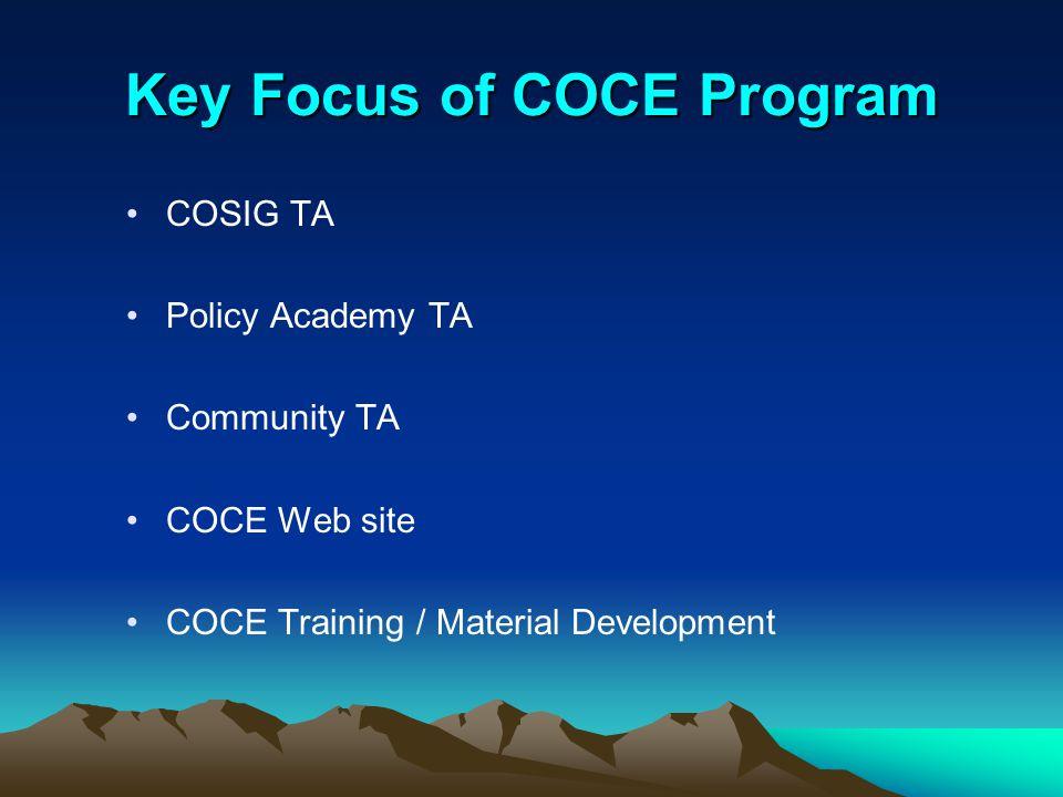Key Focus of COCE Program COSIG TA Policy Academy TA Community TA COCE Web site COCE Training / Material Development