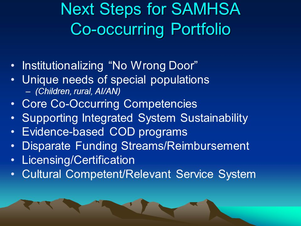 """Next Steps for SAMHSA Co-occurring Portfolio Institutionalizing """"No Wrong Door"""" Unique needs of special populations –(Children, rural, AI/AN) Core Co-"""