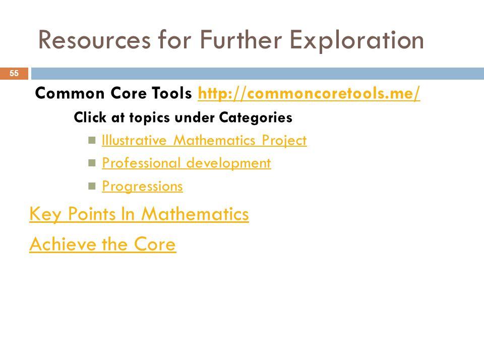 Common Core Tools http://commoncoretools.me/http://commoncoretools.me/ Click at topics under Categories Illustrative Mathematics Project Professional