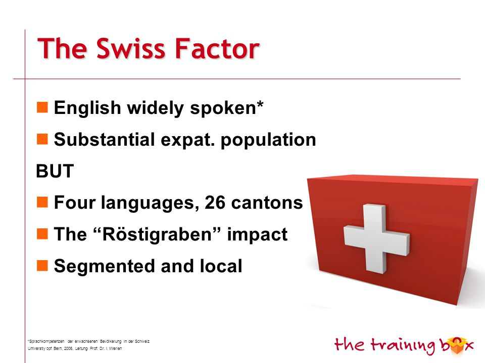 The Swiss Factor English widely spoken* Substantial expat.