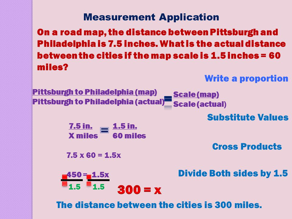 On a road map, the distance between Pittsburgh and Philadelphia is 7.5 inches. What is the actual distance between the cities if the map scale is 1.5