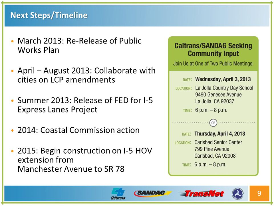 Next Steps/Timeline 9 March 2013: Re-Release of Public Works Plan April – August 2013: Collaborate with cities on LCP amendments Summer 2013: Release