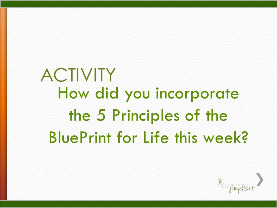 ACTIVITY How did you incorporate the 5 Principles of the BluePrint for Life this week?