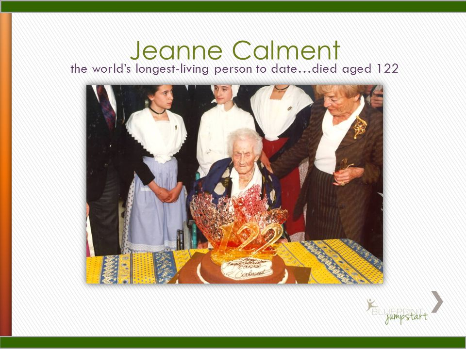 Jeanne Calment the world's longest-living person to date…died aged 122