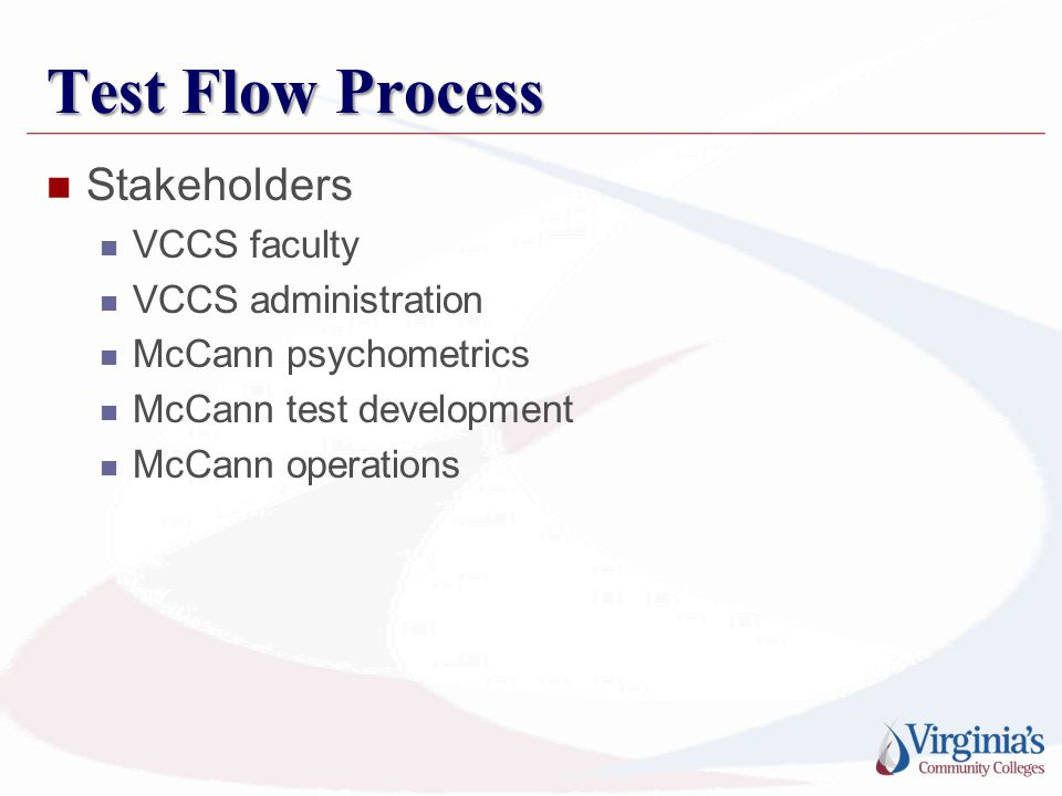 Test Flow Process Stakeholders VCCS faculty VCCS administration McCann psychometrics McCann test development McCann operations