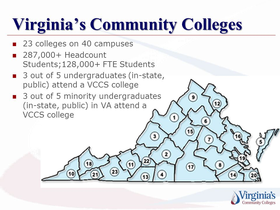 Virginia's Community Colleges 23 colleges on 40 campuses 287,000+ Headcount Students;128,000+ FTE Students 3 out of 5 undergraduates (in-state, public