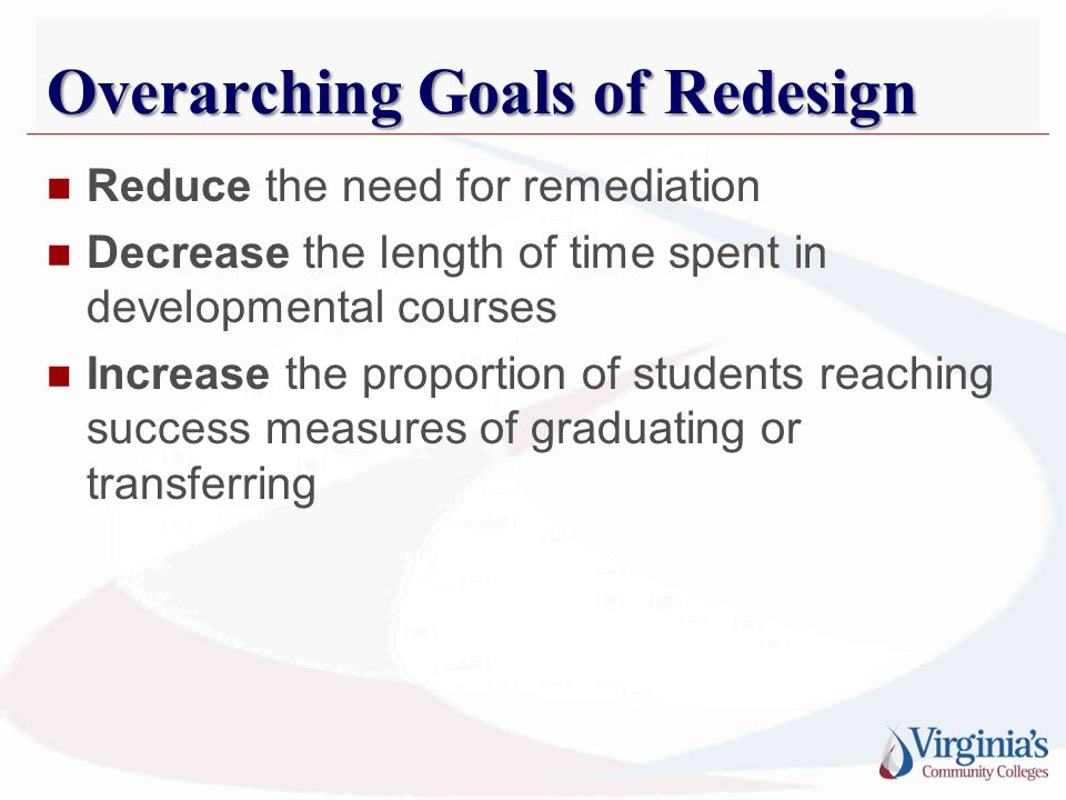 Overarching Goals of Redesign Reduce the need for remediation Decrease the length of time spent in developmental courses Increase the proportion of st