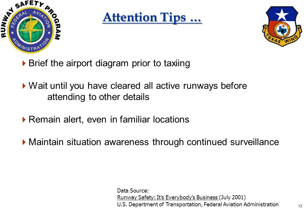 13 Attention Tips …  Brief the airport diagram prior to taxiing  Wait until you have cleared all active runways before attending to other details  Remain alert, even in familiar locations  Maintain situation awareness through continued surveillance Data Source: Runway Safety: It's Everybody's Business (July 2001) U.S.