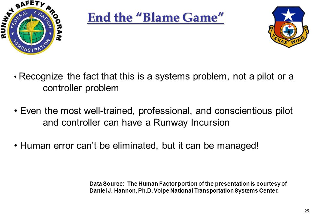 25 End the Blame Game Recognize the fact that this is a systems problem, not a pilot or a controller problem Even the most well-trained, professional, and conscientious pilot and controller can have a Runway Incursion Human error can't be eliminated, but it can be managed.