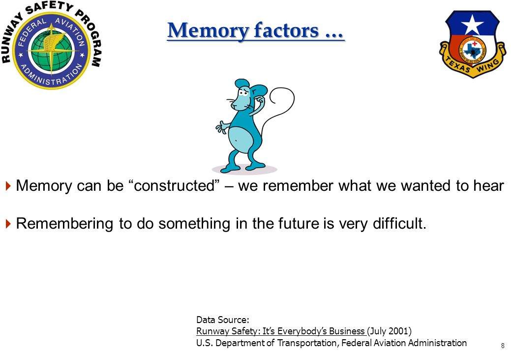 8 Memory factors …  Memory can be constructed – we remember what we wanted to hear  Remembering to do something in the future is very difficult.