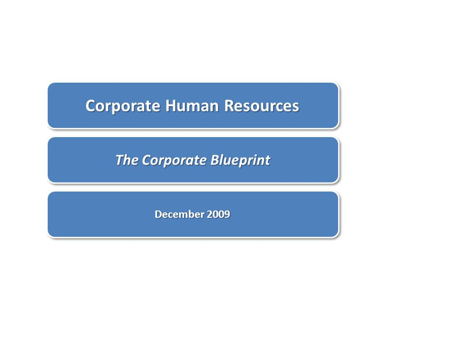 Corporate Human Resources The Corporate Blueprint December 2009