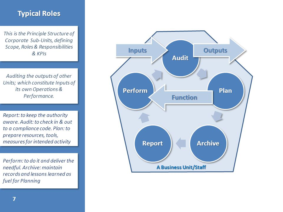 7 Typical Roles This is the Principle Structure of Corporate Sub-Units, defining Scope, Roles & Responsibilities & KPIs Auditing the outputs of other Units; which constitute Inputs of its own Operations & Performance.