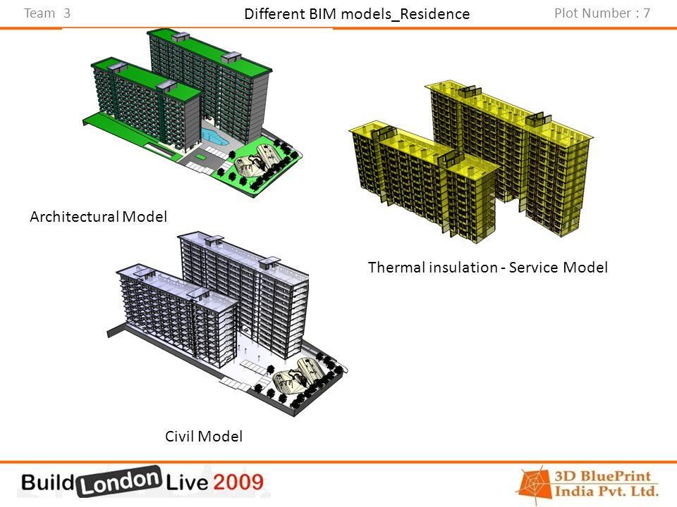 Team 3Plot Number : 7 Different BIM models_Residence Architectural Model Civil Model Thermal insulation - Service Model
