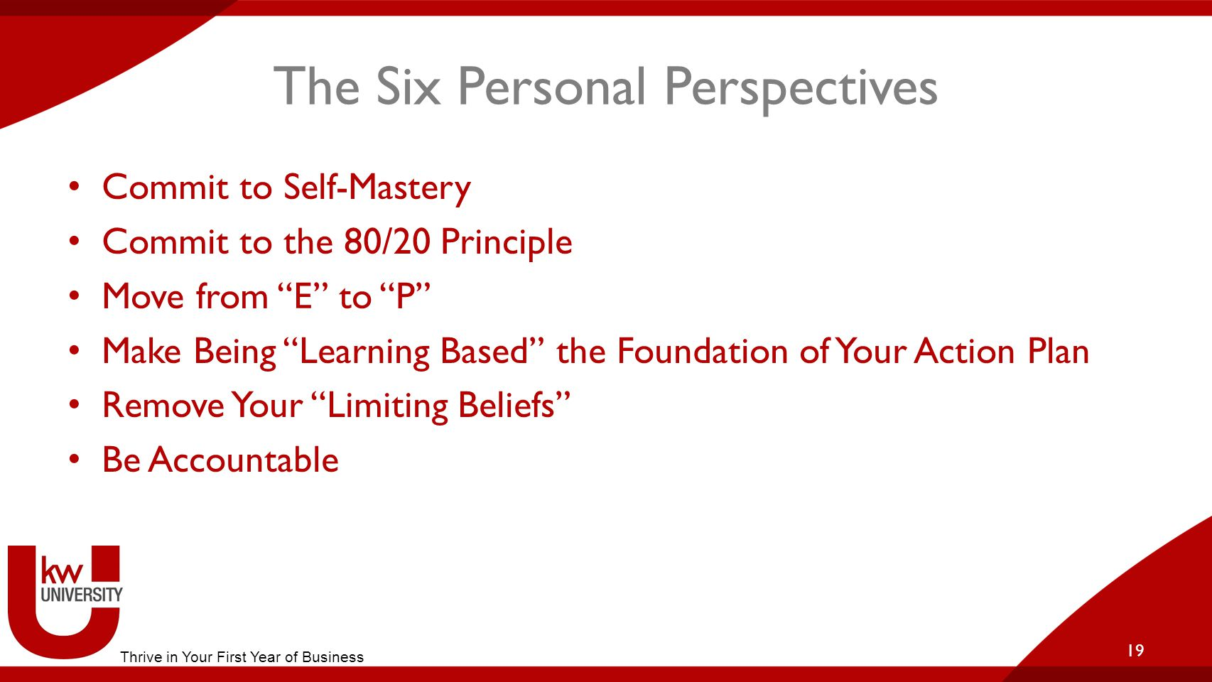 The Six Personal Perspectives Commit to Self-Mastery Commit to the 80/20 Principle Move from E to P Make Being Learning Based the Foundation of Your Action Plan Remove Your Limiting Beliefs Be Accountable 19 Thrive in Your First Year of Business