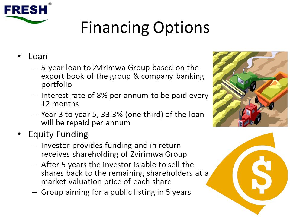 Financing Options Loan – 5-year loan to Zvirimwa Group based on the export book of the group & company banking portfolio – Interest rate of 8% per annum to be paid every 12 months – Year 3 to year 5, 33.3% (one third) of the loan will be repaid per annum Equity Funding – Investor provides funding and in return receives shareholding of Zvirimwa Group – After 5 years the investor is able to sell the shares back to the remaining shareholders at a market valuation price of each share – Group aiming for a public listing in 5 years