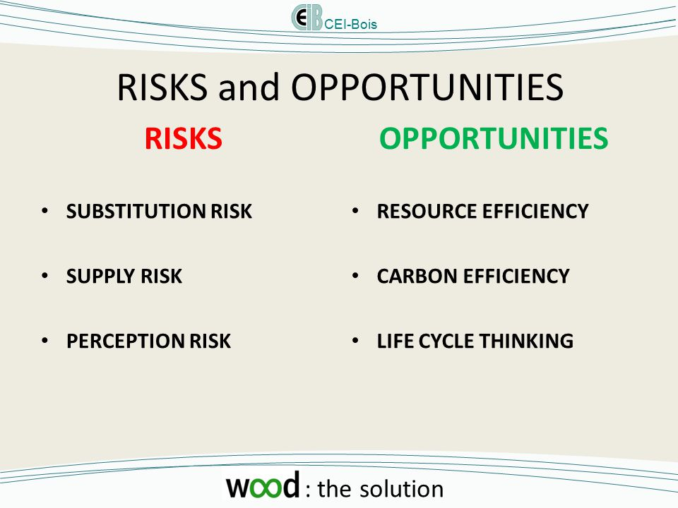 CEI-Bois : the solution RISKS and OPPORTUNITIES RISKS SUBSTITUTION RISK SUPPLY RISK PERCEPTION RISK OPPORTUNITIES RESOURCE EFFICIENCY CARBON EFFICIENCY LIFE CYCLE THINKING