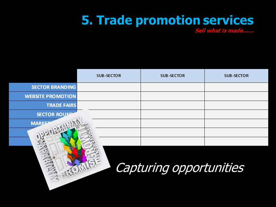 5. Trade promotion services Sell what is made…… Capturing opportunities