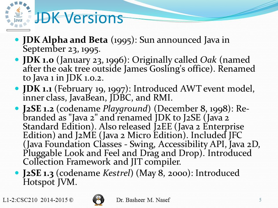 L1-2:CSC210 2014-2015 ©Dr. Basheer M. Nasef JDK Versions JDK Alpha and Beta (1995): Sun announced Java in September 23, 1995. JDK 1.0 (January 23, 199