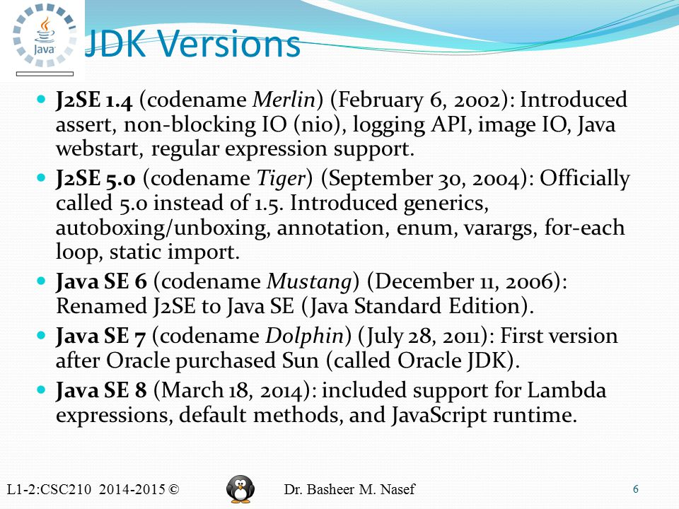 L1-2:CSC210 2014-2015 ©Dr. Basheer M. Nasef JDK Versions J2SE 1.4 (codename Merlin) (February 6, 2002): Introduced assert, non-blocking IO (nio), logg