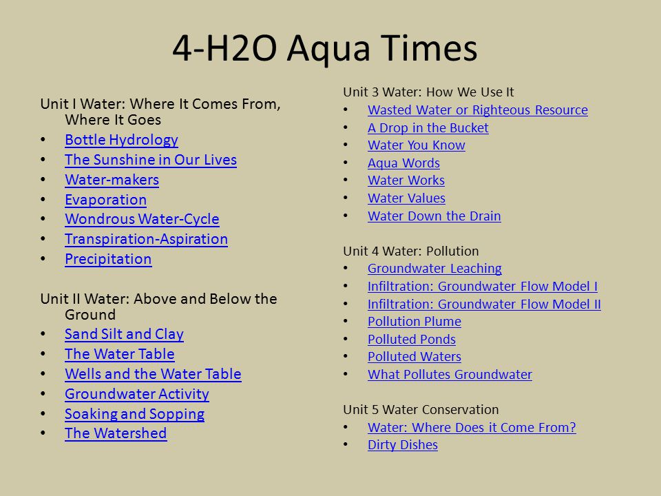 4-H2O Aqua Times Unit I Water: Where It Comes From, Where It Goes Bottle Hydrology The Sunshine in Our Lives Water-makers Evaporation Wondrous Water-C