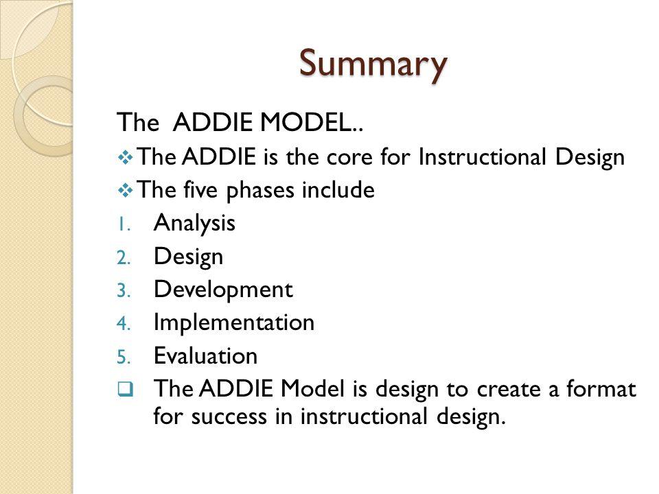 Summary The ADDIE MODEL..