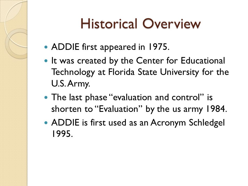 Historical Overview ADDIE first appeared in 1975.