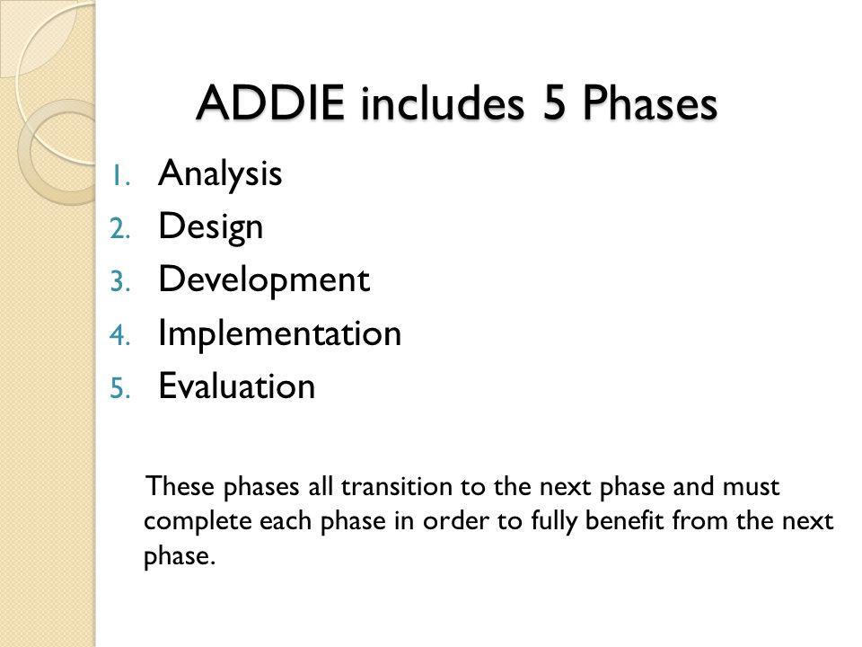 ADDIE includes 5 Phases ADDIE includes 5 Phases 1.
